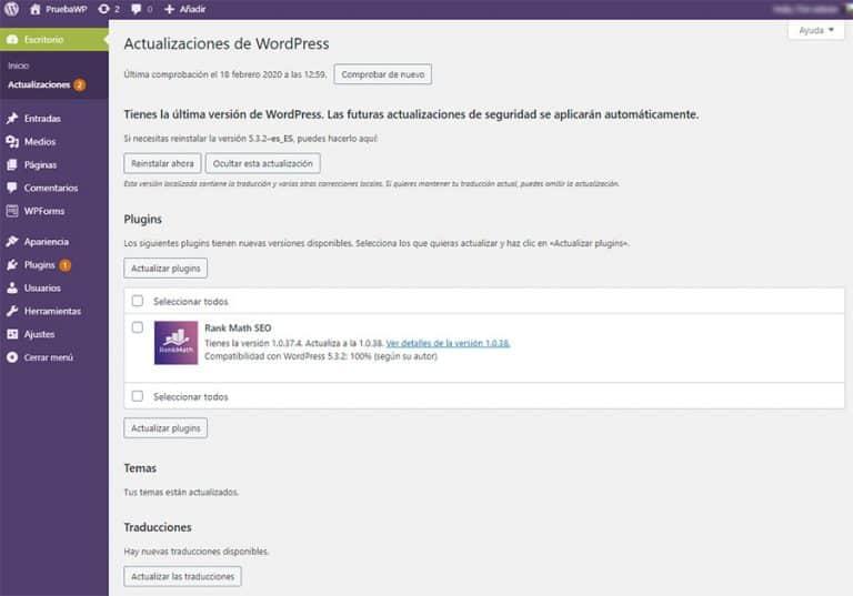 Actualizaciones de WordPress, plugins y temas