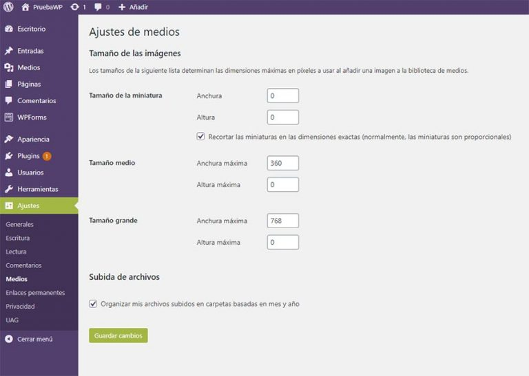 Ajustes de los Medios visuales en WordPress