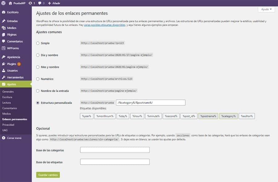 Configuración de los Ajustes de los Enlaces Permanentes en WP