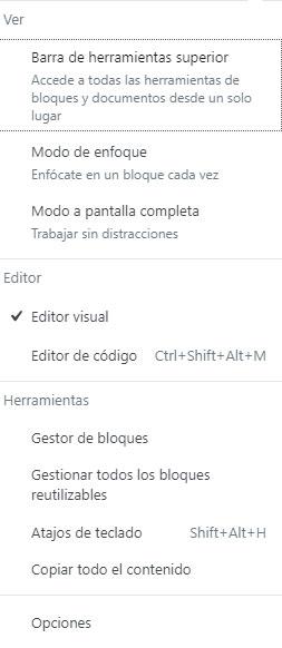 """Menú lateral """"Más herramientas y opciones"""""""