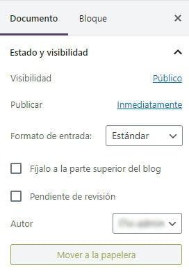 Estado y visibilidad de la entrada o post