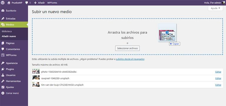 subir archivos multimedia a la biblioteca de WP