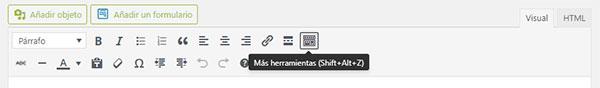 Barra de herramientas del editor visual de WordPress