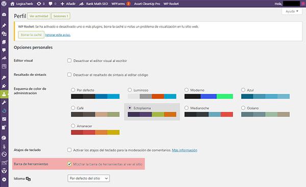 Cómo ocultar la barra de herramientas de WordPress Toolbar