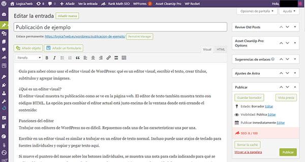 Cómo usar el editor visual en WordPress