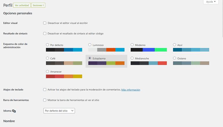 Edición del perfil de usuario en WordPress