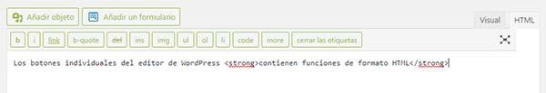¿Cómo usar el editor de texto en HTML en WordPress?