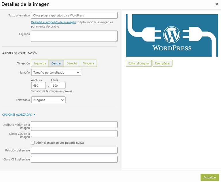 ¿Cómo editar una imagen en WordPress? Pantalla de detalles de la imagen