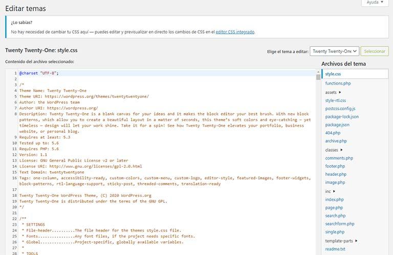 Edición de PHP a través del editor de temas