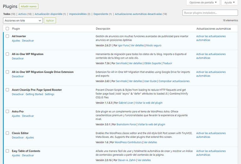Panel de administración de plugins en WordPress