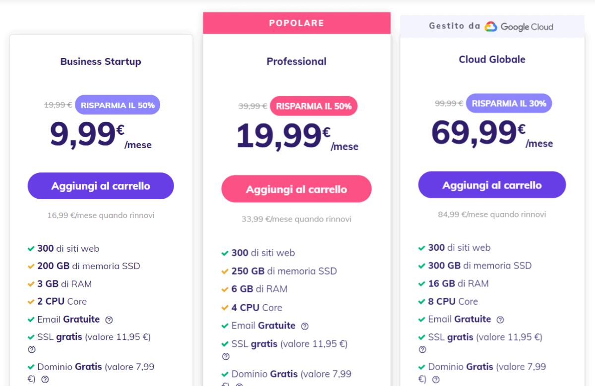 Planes y precios en la nube de Hostinger